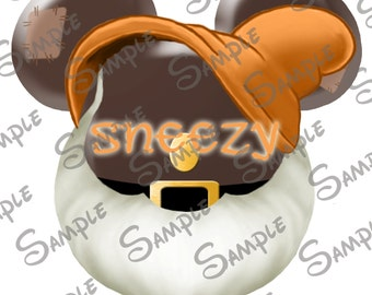 DIGITAL DIY printable Sneezy the Dwarf from Snow White Character Mickey head file can be Personalized for you!