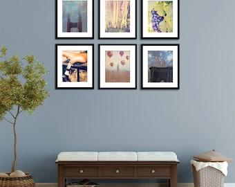Autumn Decor - Large Wall Prints - set of 6 photographs -San Francisco New York Photography - Fall art - 11x14 set