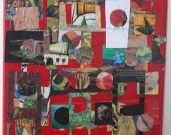 16x20 Abstract Collage on Canvas- windows