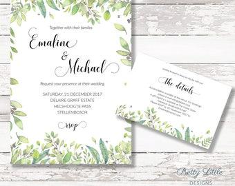 Leafy Green Digital Wedding Invitation - DIY Printing