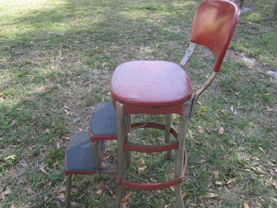 Vintage Red Cosco Metal Step Stool Step Chair Stool Step