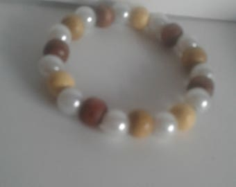 Wood and Pearl Handmade Beaded Bracelet
