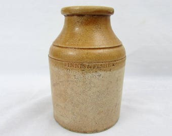 1800s Finnis & Fisher Stoneware Jar London England -  Powell Bristol stoneware - ca 1850
