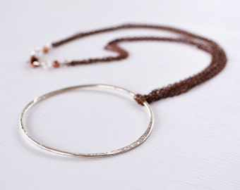 Silver Circle Necklace - Open Circle - Sterling Silver - Eco Friendly Silver - Mixed Metal Necklace - Copper - Boho Gypsy Free Spirit N2041