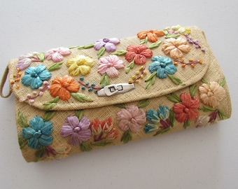Cloth Weave, Rattan Flowers Clutch Purse with Metal Clasp, Souvenir Travel Purse Philippines