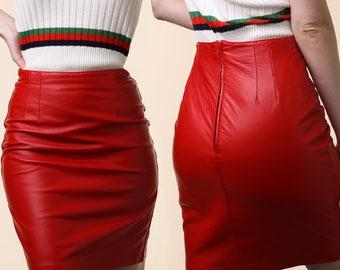 1980's Red Leather Skirt / Vintage Bagatelle Leather Skirt / Red Leather Skirt / Vintage 80's Skirt / 80's Red Leather Skirt