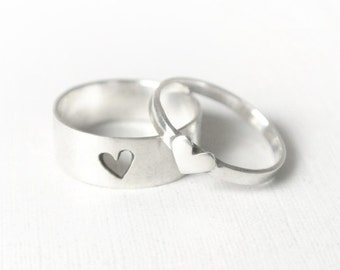 Tiny Hearts Promise Ring Set - Couple Rings, Couples Jewelry for Him and Her, Promise Ring Set, Simple Couple Rings, Heart Promise Rings