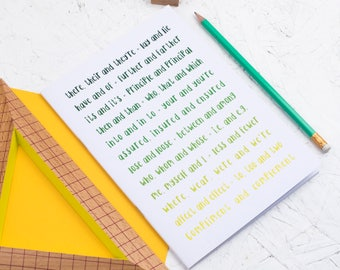 OMBRE GRAMMAR NOTEBOOK Green Colours Stationery for Grammar Geeks Police Teenager Colour Typography Graduation Back to School Teacher Gift