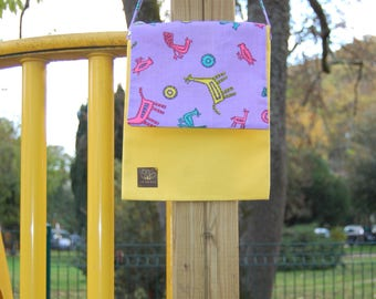 Yellow kids Messenger bag - Purple vintage fabric