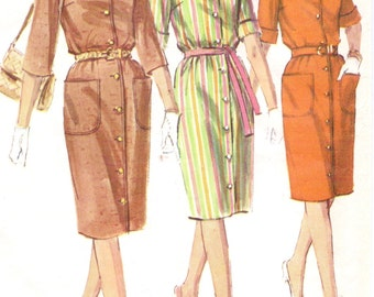 1960s Simplicity Sewing Pattern 6040 Womens Mandarin Collar Button Front Dress Proportioned Sizes Size 16 Bust 36 UnCut Vintage Patterns