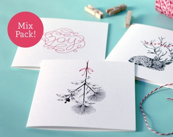 Mix pack of three –greeting cards – square cards – thank you card – celebration