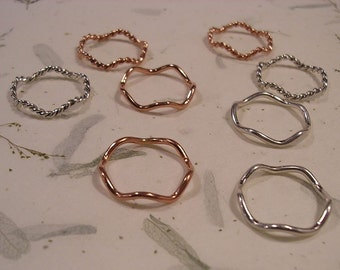 Subtle Wavy Rings in Twisted and Plain.  Available in Copper, Sterling Silver and 14K Gold