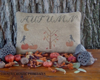 Primitive Autumn Pinkeep Cross Stitch E Pattern PDF