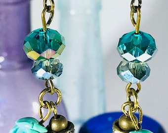 Teal Rose Bead and Teal Crystals Earrings