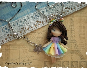 Rainbow princess doll necklace -Polymer clay Lady-