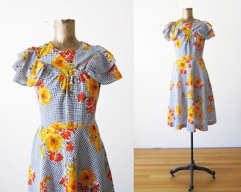 60s Dress - Vintage Floral Sundress - Blue Gingham Dress - Mustard Floral Day Dress - Flutter Sleeve Dress - Blue Plaid Dress  1960s Dress S