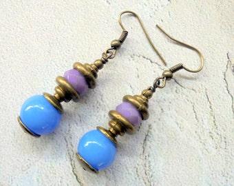 Lavender and Cornflower Blue Boho Earrings (3187)