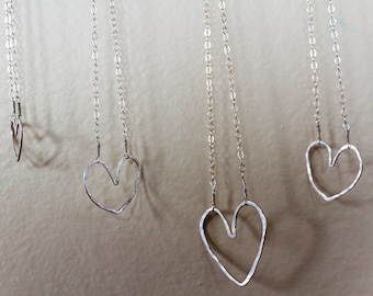 Silver Hammered Heart Necklace 16""