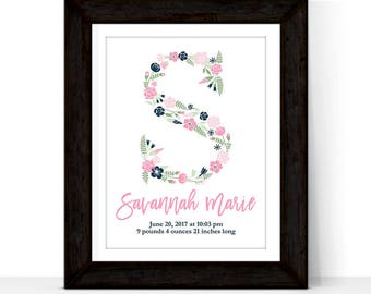 Personalized nursery art girl floral, new baby girl gift, nursery decor wall art, print or canvas, custom colors