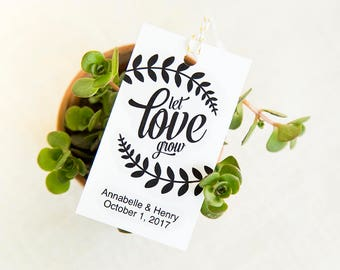 Let Love Grow Tag, Wedding Favor Tags, Gift Tags Template, Editable Tags, Gift Tags Personalized, Wedding Printables, Gift Tag Bridal Shower