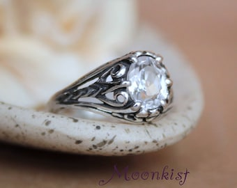 Oval White Sapphire Engagement Ring - Sterling Silver Filigree Bridal Ring - Vintage Oval Engagement Ring - Alternative Engagement Ring