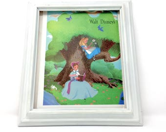 9x12 Vintage Alice in Wonderland Reading in the Tree Walt Disney Oversized Book Plate Print, Al Dempster