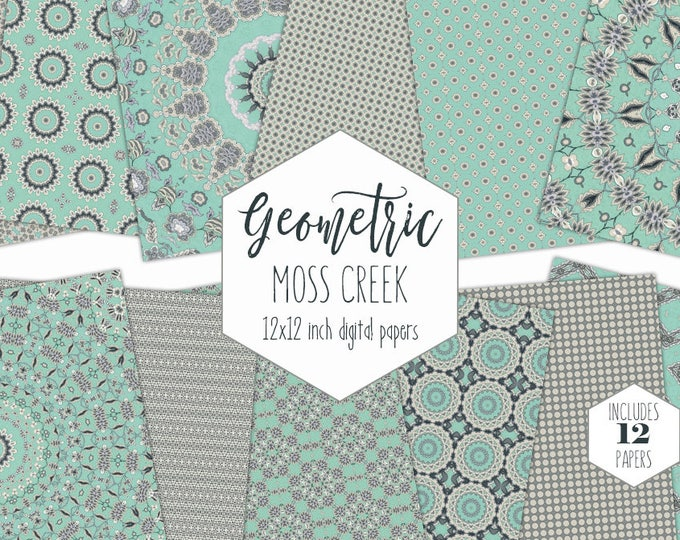 BOHO GRAY & MINT Digital Paper Pack Mandala Backgrounds Star Medallion Scrapbook Papers Geometric Patterns Modern Chic Bohemian Clipart