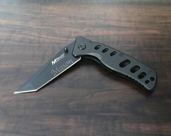 Groomsmen Gift, Engraved Knife, Wedding, Engraved Pocket Knife, Groom, Ring Bearer, Engraved Gift, Personalized Black Knife