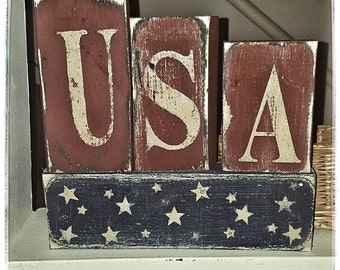 Wooden Americana Block Set Americana Decor Americana Block Set Primitive