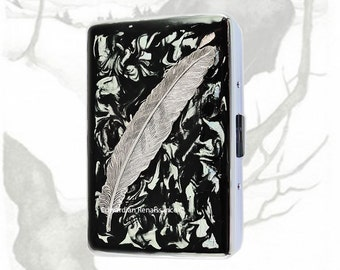 Silver Ravens Feather Metal Cigarette Case Inlaid in Hand Painted Glossy Black Ink Enamel Swirl Design with Personalized and Color Options