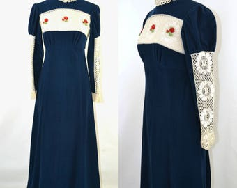 1970s Dark Blue Velour Victorian Revival Maxi Dress, Full Length Dress with Lace Sleeves Insert