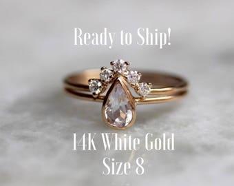 Ready to Ship! - 14K White Gold Moonstone & Diamond Engagement Ring Set