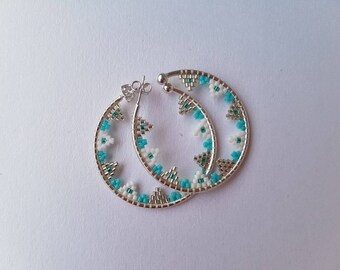 Hoop earrings with turquoise, white and silver beads
