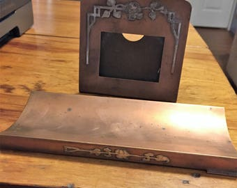 SMACO Vintage Smith Metal Arts Company Desk Set Sterling Decorated Bronze A 101