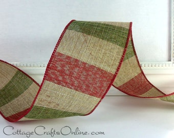 """Christmas Wired Ribbon,  2 1/2"""" Red, Natural Tan and Green Stripe - THREE  YARDS - """"Striped Lodge"""" Rustic, Prim  Wire Edged Ribbon"""