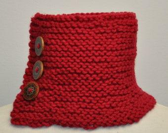 Knit Neck Warmer in Ruby Slipper