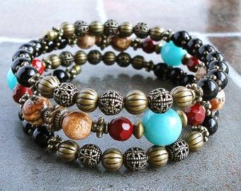 Boho Gypsy Bracelet, Memory Wire Bangle Bracelet, Black Onyx Amazonite Red Jasper Gemstone, Wrap Around Bracelet