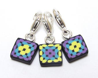 Crochet Stitch Marker Set, Granny Square Progress Keepers, Purple Aqua Yellow, Polymer Clay Cane, Handmade Supply, Crocheter Gift