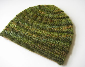 knit hat olive green hand knit hat