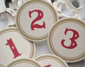 Red/Khaki Number Circles (31) Number Tags-Calendar Circles-Date Circles-Number Labels-Advent Calendar Number-Scrapbook Number-December Daily