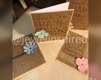 Embossed Thank You Cards - 6 Pc Set