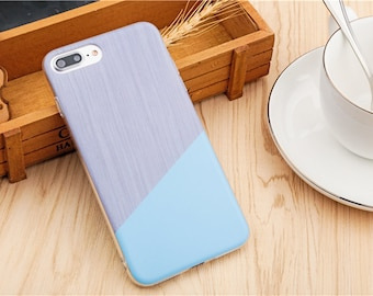 Minimalist Baby Blue Tri-cut Design iPhone case. iPhone 6/ 6s, iPhone 7, iPhone 8, iPhone 7/8 Plus