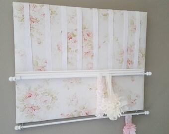 Bow Holder, Bow Organizer, Headband Holder, 16 x 20 Bow Board, Headband Organizer Floral Chic Fabric, Baby Shower Gift, Nursery Decor