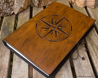 A4, Large, Leather Bound Journal, Compass Rose, Nautical Compass, Ships Log, Brown Leather, Leather Notebook, Travel Journal, Personalized.