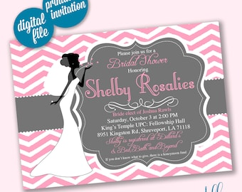 Pink & Gray Bridal Shower Invitation