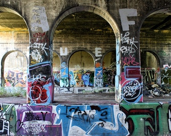 Graffiti Street Art Archway Under Bridge Urbex Photo Print