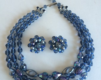 Shades of Blue and Metallic Silver Bead Demi Parure Made in Germany in the 1950s