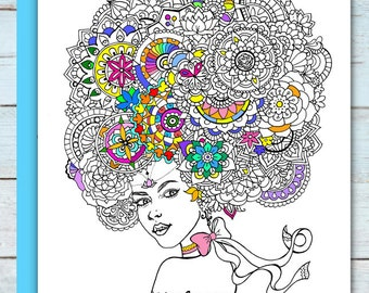 Printable Mandala Girl Coloring Page