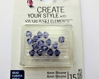 SWAROVSKI TANZANITE CRYSTALS 6mm - package of 15 purple bicone crystals - 56-05295 Tanzanite 6mm bicones