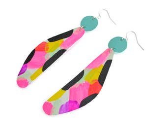 Geometric Earrings, Art Earrings, Neon Pink Earrings, Drop Earrings, Leather Earrings, Painted Earrings, Dangle Earrings, Leather Jewelry